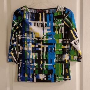 Peck & Peck Colorful Abstract Blouse